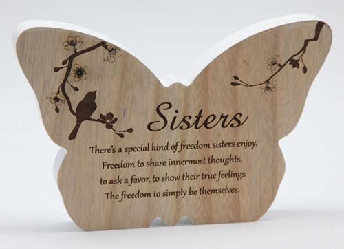 Sincerity Butterfly Sentiment Plaque - Sisters
