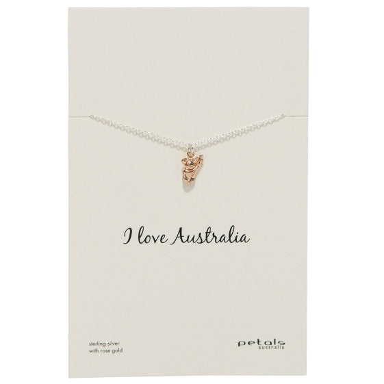 Sterling Silver with Rose Gold Necklace - Koala