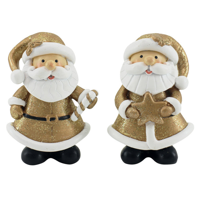 Gold Santas With Cane & Star (Set of 2)