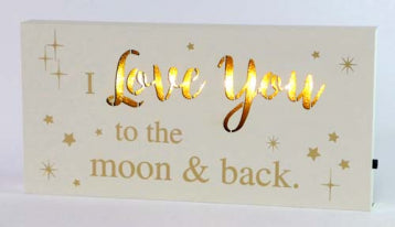 Starlight Led Sentiment Block - Love You To The Moon