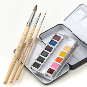 Watercolor Paint Set - 12 Paint Colors, 3 Essential Brush Sizes