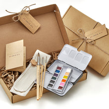 Load image into Gallery viewer, Watercolor Paint Set - 12 Paint Colors, 3 Essential Brush Sizes