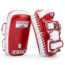 Load image into Gallery viewer, Curved Kicking Pads Biking Red/White - YOKKAO