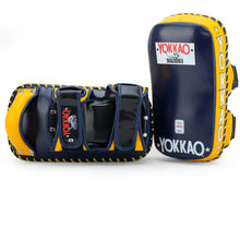 Load image into Gallery viewer, Curved Kicking Pads Evening Blue/Gold Fusion - YOKKAO