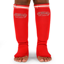 Load image into Gallery viewer, Yokkao Muay Thai Boxing Shin Guards Red Cotton - YOKKAO