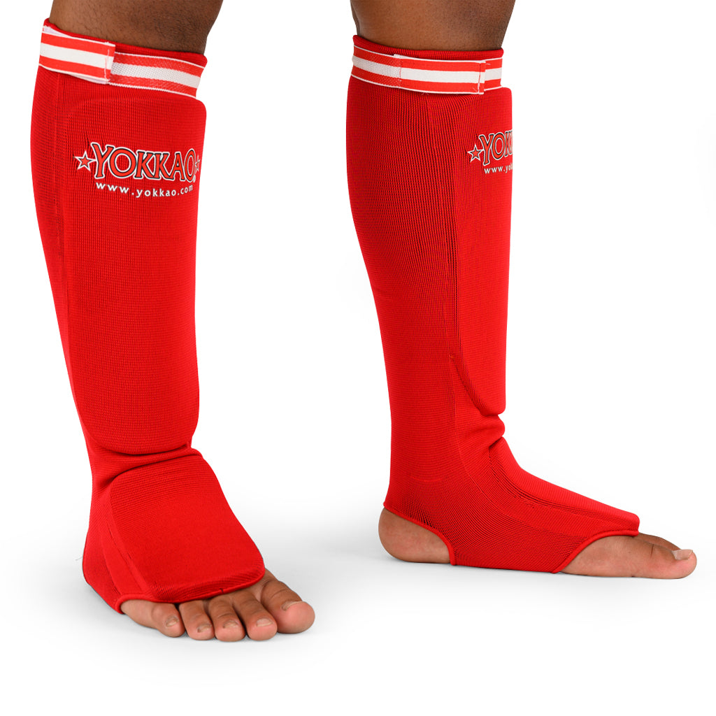 Yokkao Muay Thai Boxing Shin Guards Red Cotton - YOKKAO