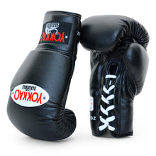 Load image into Gallery viewer, Matrix Black Lace Up Boxing Gloves - YOKKAO