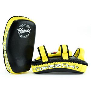 Kicking Pads Microfiber Leather Black/Yellow - YOKKAO