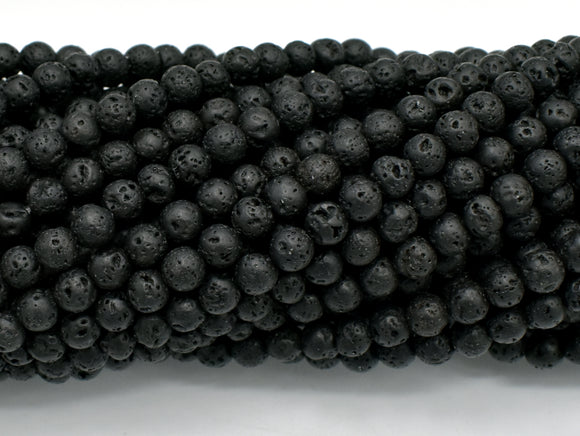 Black Lava Beads, Round, 4mm