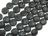 Black Lava, 12mm Coin Beads, 14.5 Inch