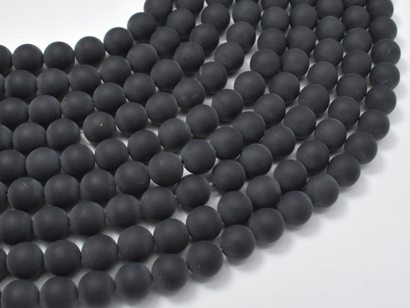 Matte Black Onyx Beads, Round, 8mm-BeadBasic