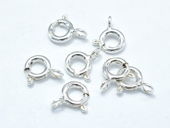 10pcs 925 Sterling Silver Spring Ring, 6mm Round Clasp, with 3mm Ring-BeadBasic
