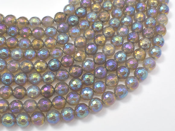 Mystic Coated Gray Agate, 8mm Faceted Round Beads, AB Coated-BeadBasic