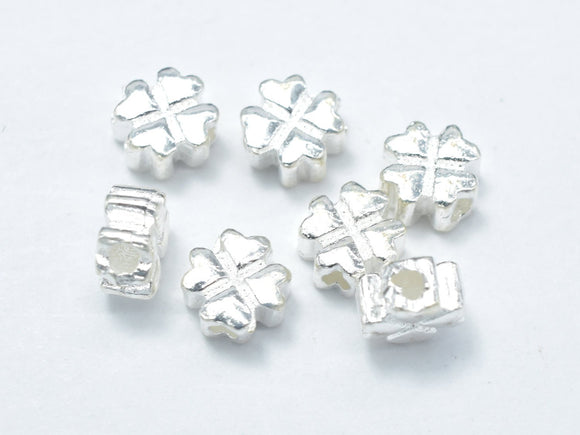 6pcs 925 Sterling Silver Beads-Flower, 5x5mm-BeadBasic