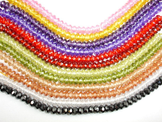 CZ bead, Faceted Rondelle, Approx 3.5 x 6 mm-BeadBasic