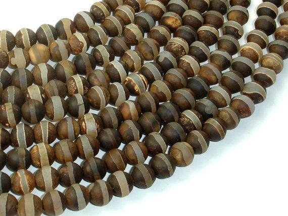 Matte Tibetan Agate Beads, 8mm Round Beads-BeadBasic
