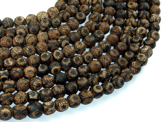 Crackle Tibetan Agate, 8mm(7.8mm) Round-BeadBasic