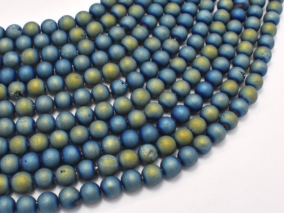 Druzy Agate Beads, Blue Gold Geode Beads, 6mm (6.4mm)-BeadBasic