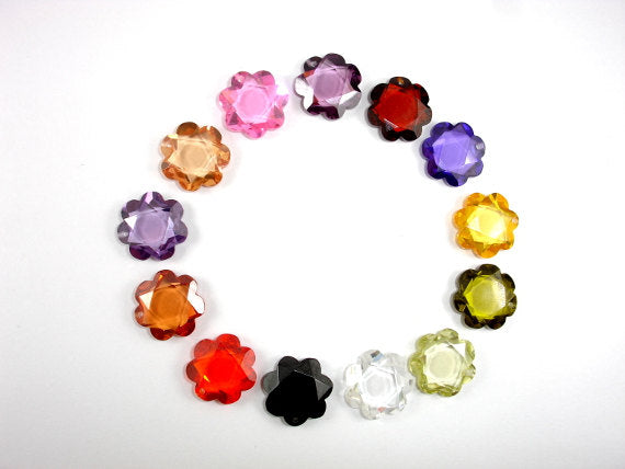 CZ beads.15x15mm Faceted Flower-BeadBasic