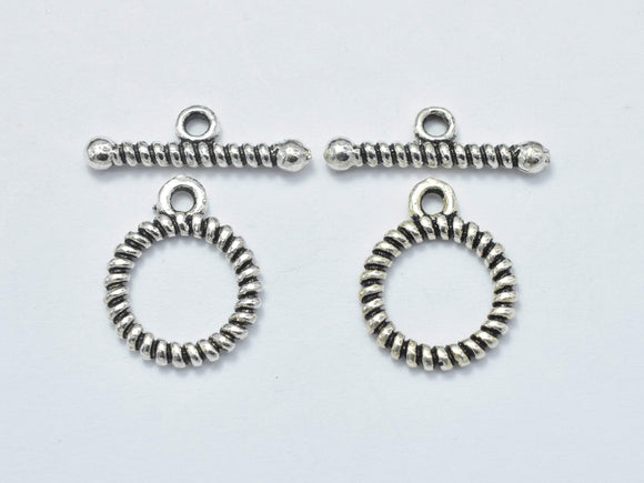 2sets Antique Silver 925 Sterling Silver Toggle Clasps Loop 12mm (11.5mm), Bar 16mm, Hole 1.7mm-BeadBasic