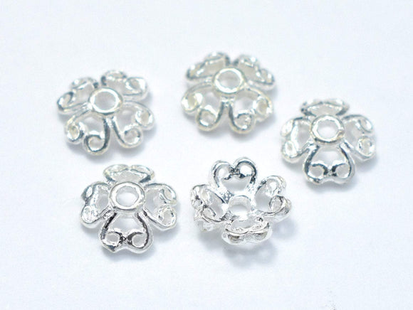 6mm 925 Sterling Silver Bead Caps, 6x2.2mm Flower Bead Caps, 15pcs-BeadBasic