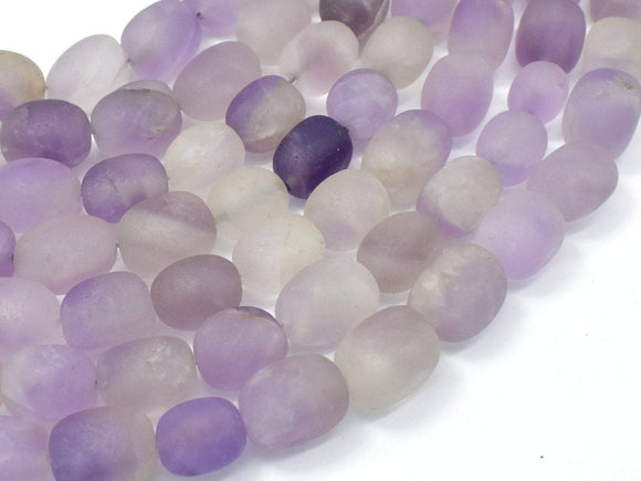 Matte Lavender Amethyst, Light Purple, 11x15mm Nugget Beads, 15 Inch