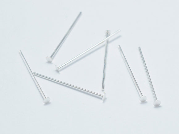 20pcs 925 Sterling Silver Head Pin, 20mm, 0.6mm(23gauge)-BeadBasic