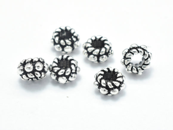 8pcs 925 Sterling Silver Beads-Antique Silver, 5mm Rondelle Beads, Spacer Beads, 5x3mm Hole 2.2mm-BeadBasic