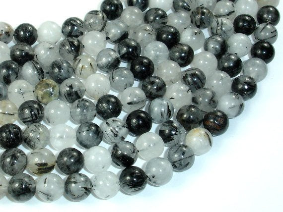 Black Rutilated Quartz Beads, 8mm Round Beads-BeadBasic
