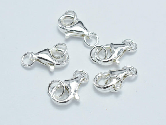 4pcs 925 Sterling Silver Lobster Claw Clasp, 11x6mm-BeadBasic