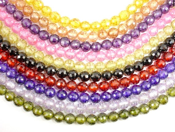 CZ beads, 6 mm Faceted Round-BeadBasic