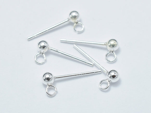 10pcs (5pairs) 925 Sterling Silver Ball Earring Stud Post with Open Loop-BeadBasic