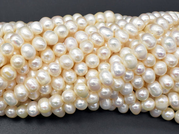 Fresh Water Pearl Beads-White, Approx 6-7mm Potato Beads-BeadBasic