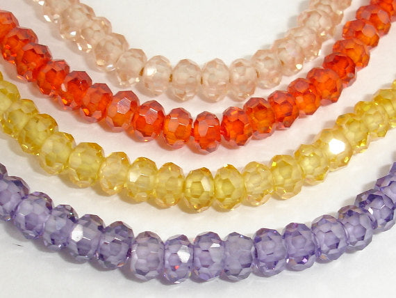 CZ beads, Faceted Rondelle 3.5x4mm-BeadBasic