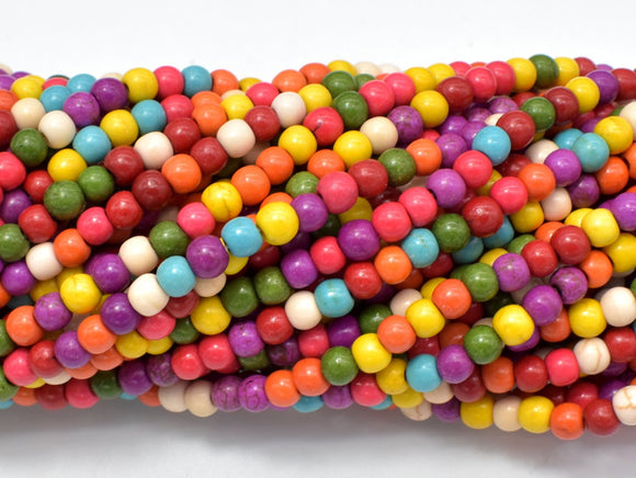 Howlite Beads, Multicolored, 4mm, 15.5 Inch-BeadBasic