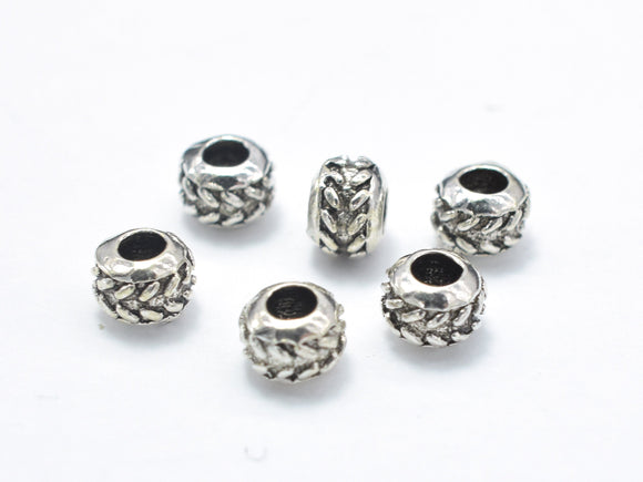 10pcs 925 Sterling Silver Beads-Antique Silver, 4mm Rondelle Beads, Spacer Beads, 4x3mm, Hole 1.8mm-BeadBasic