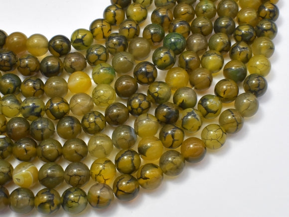 Dragon Veins Agate Beads, 8mm, Round Beads