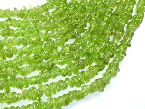 Peridot, Approx 4-8 mm Pebble Chips Beads