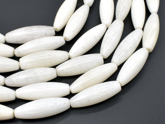 White Jade Beads, 10x30mm Rice Beads