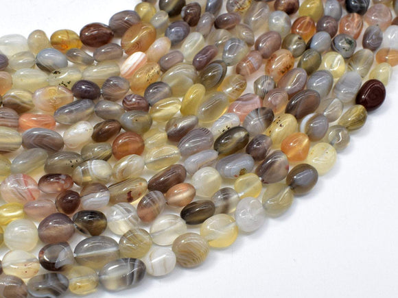 Botswana Agate, 6x8mm Nugget Beads, 15.5 Inch