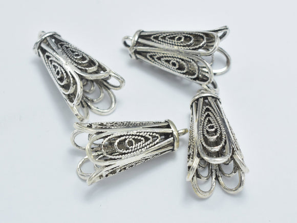 1pc 925 Sterling Silver Bead Cap, Bead Cone-Antique Silver, 19x10mm Filigree Bead Cap-BeadBasic