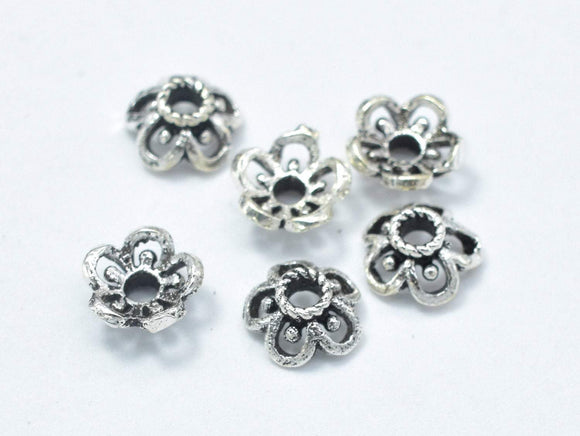 10pcs 925 Sterling Silver Bead Caps-Antique Silver, 5.5x2.4mm Flower Bead Caps-BeadBasic
