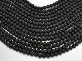 Black Lava Beads, Round, 6mm