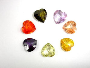 CZ beads, 16x16mm Faceted Heart-BeadBasic
