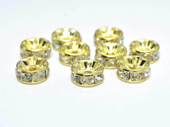 Rhinestone, 8mm, Finding Spacer Round,Clear, Gold plated Brass, 30 pieces-BeadBasic