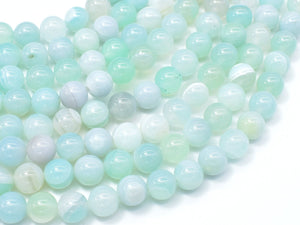 Banded Agate Beads, Striped Agate, Light Blue, 8mm Round Beads-BeadBasic