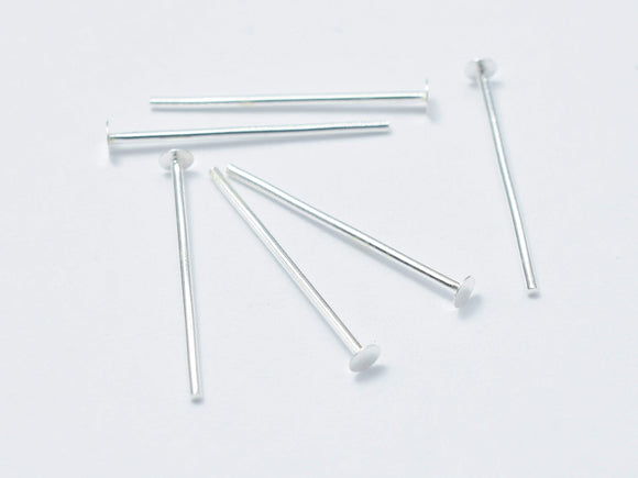 20pcs 925 Sterling Silver Head Pin, 15mm, 0.6mm(23gauge)-BeadBasic