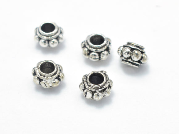 10pcs 925 Sterling Silver Beads-Antique Silver, 4.3mm Rondelle Beads, Spacer Beads, 4.3x3mm, Hole 1.7mm-BeadBasic