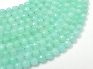 Jade Beads, Light Green, 6mm Faceted Round-BeadBasic