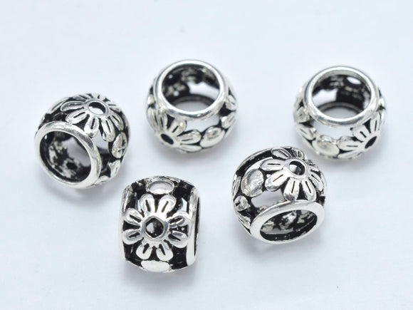 2pcs 925 Sterling Silver Beads, Big Hole Rondelle Spacer-BeadBasic